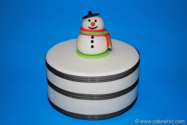 Winter Cake With Fondant Snowman Topper