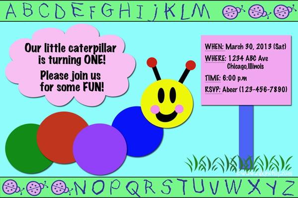 baby einstein caterpillar birthday party invitation
