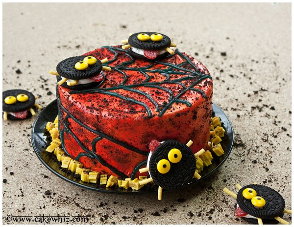 oreo spiders and twizzler spider web cake 1