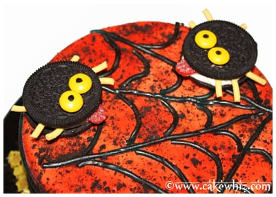 oreo spiders and twizzler spider web cake 13