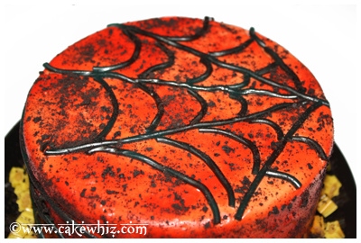 oreo spiders and twizzler spider web cake 11