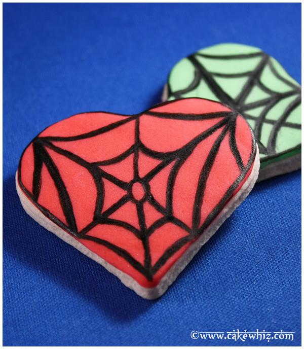 Heart Cookies- Spiderweb