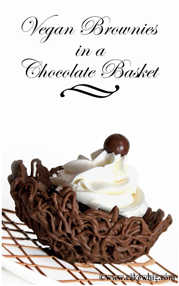 vegan brownies in a chocolate basket 1