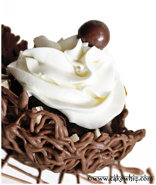 vegan brownies in a chocolate basket 2
