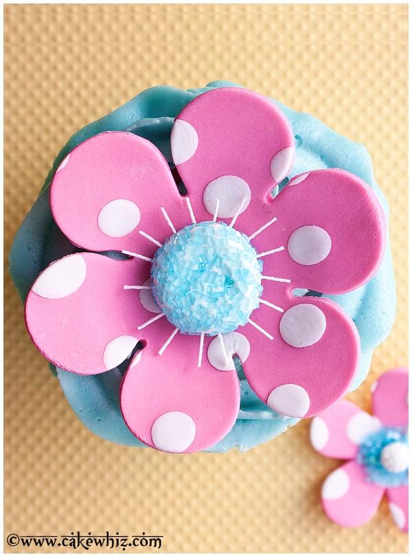 Polka Dot Fondant Flower Cake