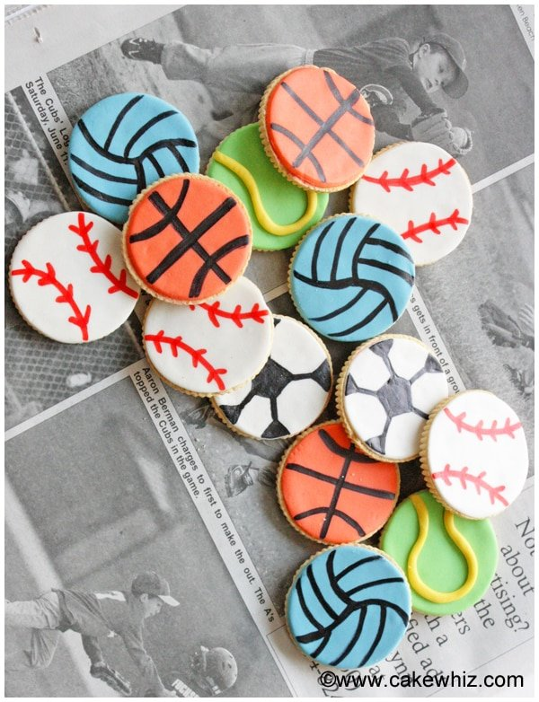 sports ball cookies for a game of tic tac toe 7