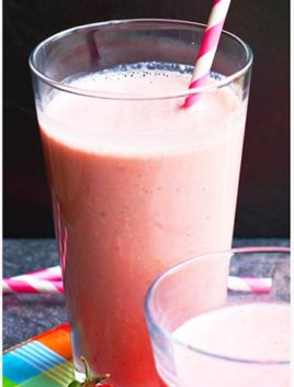 Strawberry Smoothie in Clear Glass with Pink Straw