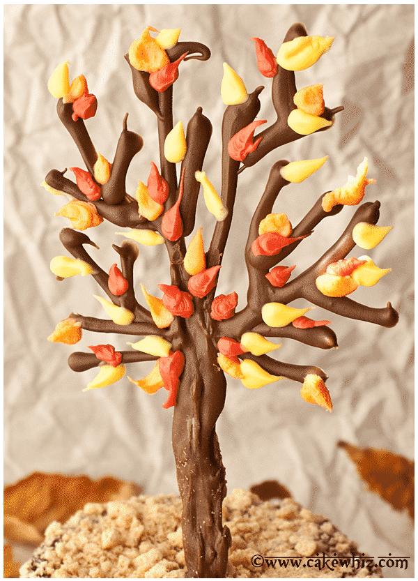 fall themed chocolate tree cake 2