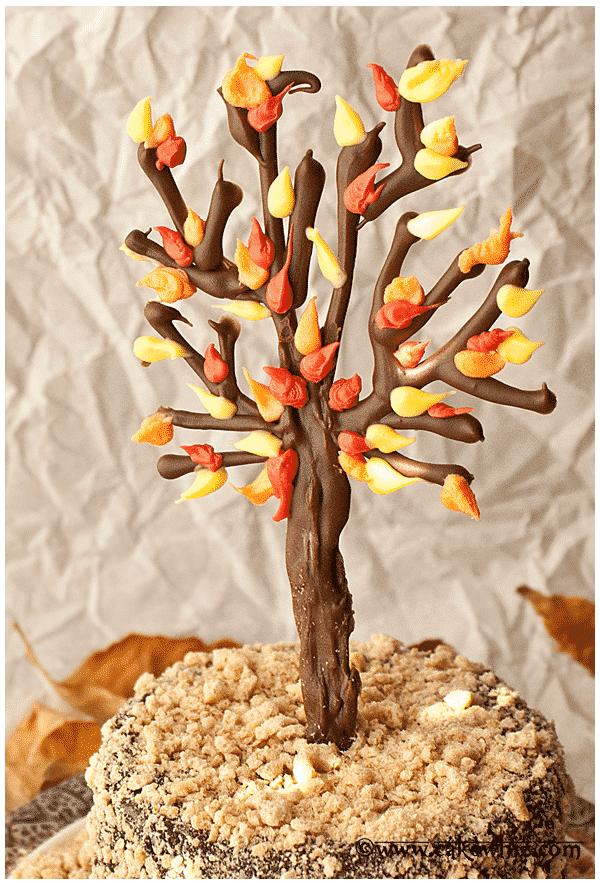 fall themed chocolate tree cake 3