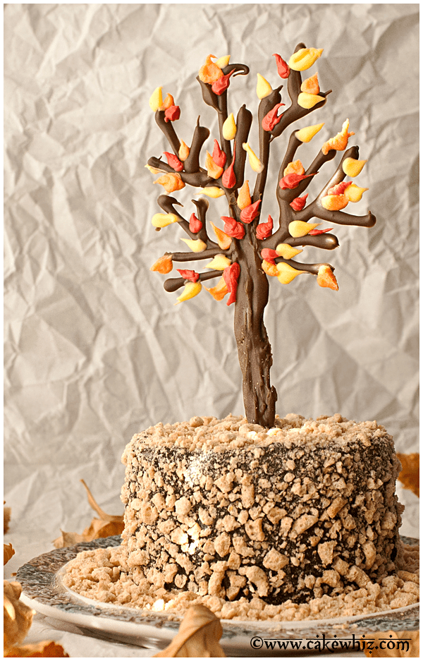 fall themed chocolate tree cake 4