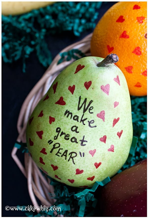fruits with cute edible messages