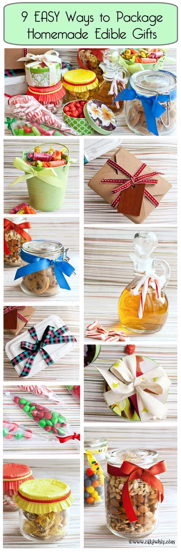 Collage Image Showing 9 Easy Ways to Package Edible Gifts (Cookies, Fudge, Candies)