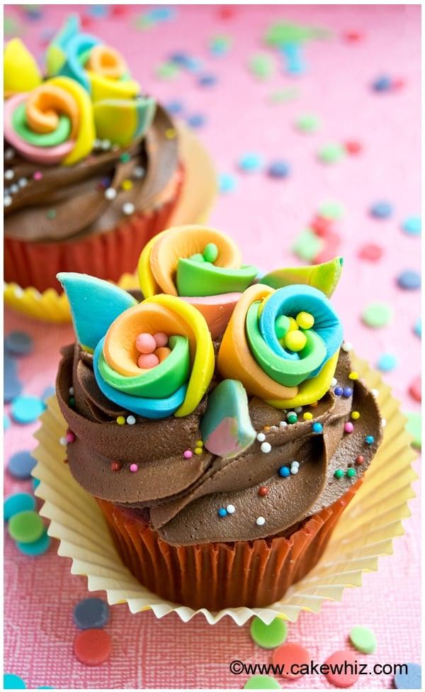 rainbow flower cupcakes 2