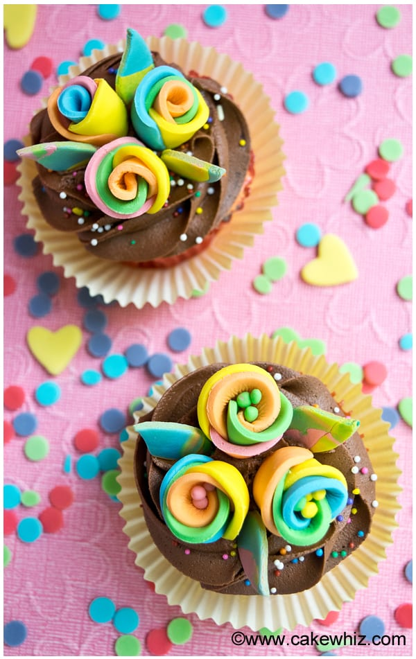 rainbow flower cupcakes 6
