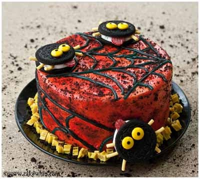 oreo spiders and twizzler web cake