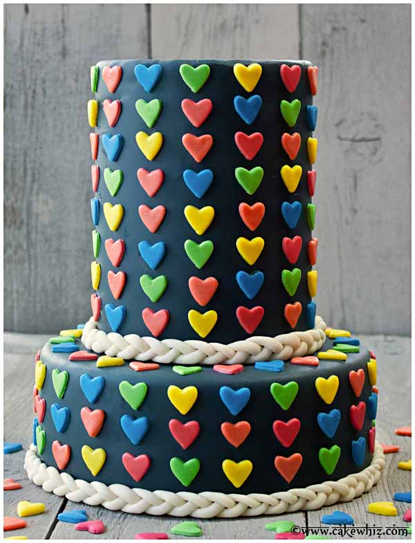 cake with jumbo heart sprinkles