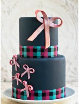 Easy Fondant Bows Decorated on Tiered Gray Cake