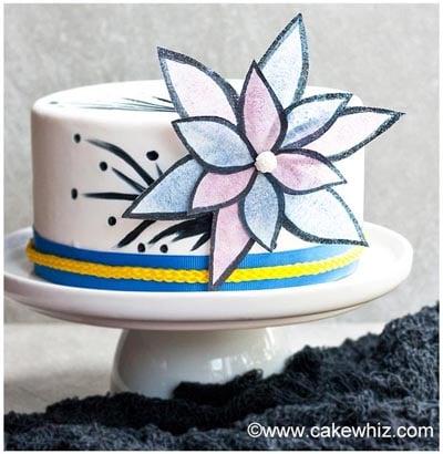 easy wafer paper flower cake 01