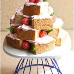 Easy Pink Mother's Day Cake Tower on Cake Stand