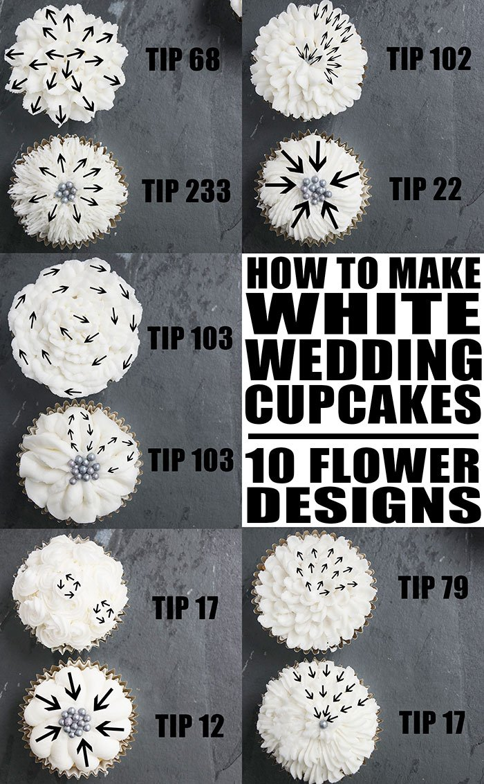 White Wedding Cupcakes Tutorial