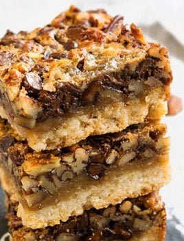 Chocolate Pecan Pie Bars with Shortbread Crust Recipe