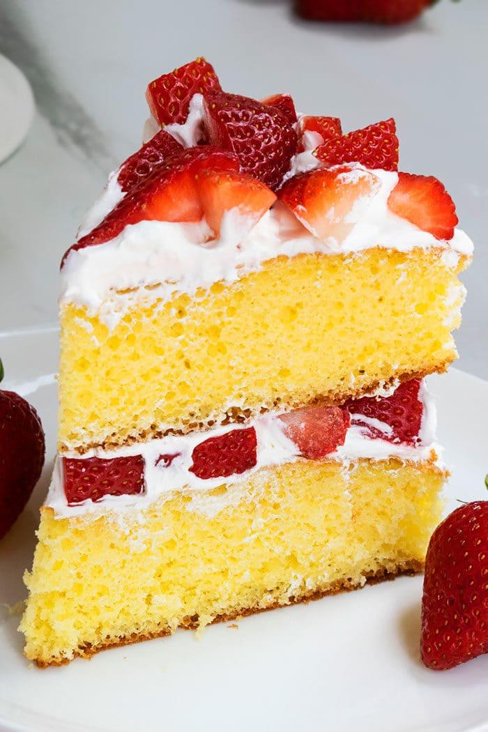Best Strawberry Shortcake Cake Slice