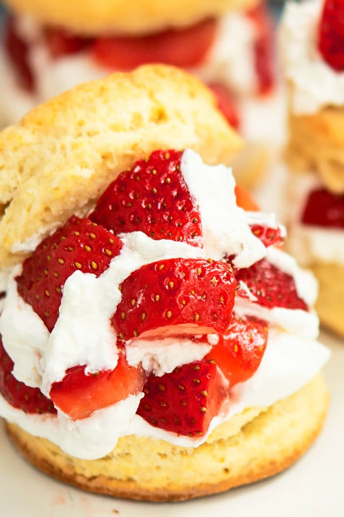Strawberry Shortcake with Sweetened Strawberries and Whipped Cream
