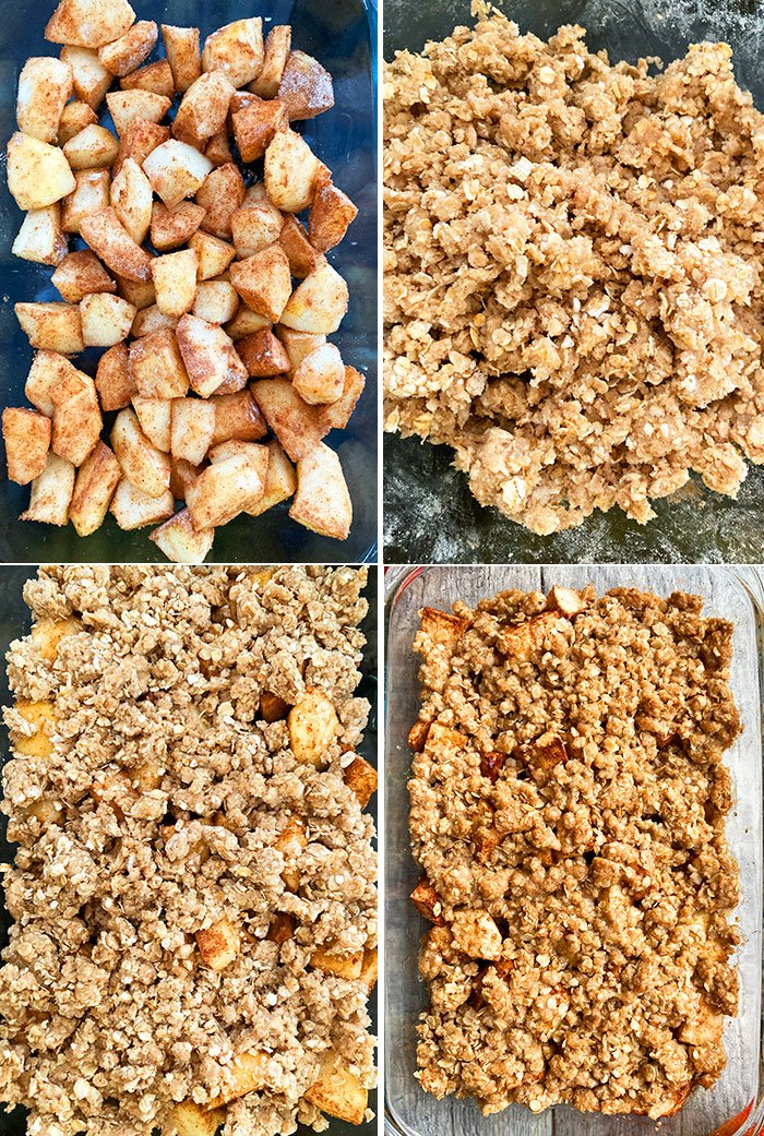 Step by Step Instructions Collage For Old Fashioned Apple Crisp