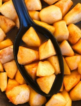 Spoonful of Cinnamon Fried Apples in Black Slow Cooker