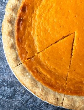 Easy Homemade Sweet Potato Pie- Overhead Shot on Gray Stone Background