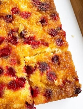 Easy Cranberry Upside Down Cake with Cake Mix on White Dish- Overhead Shot