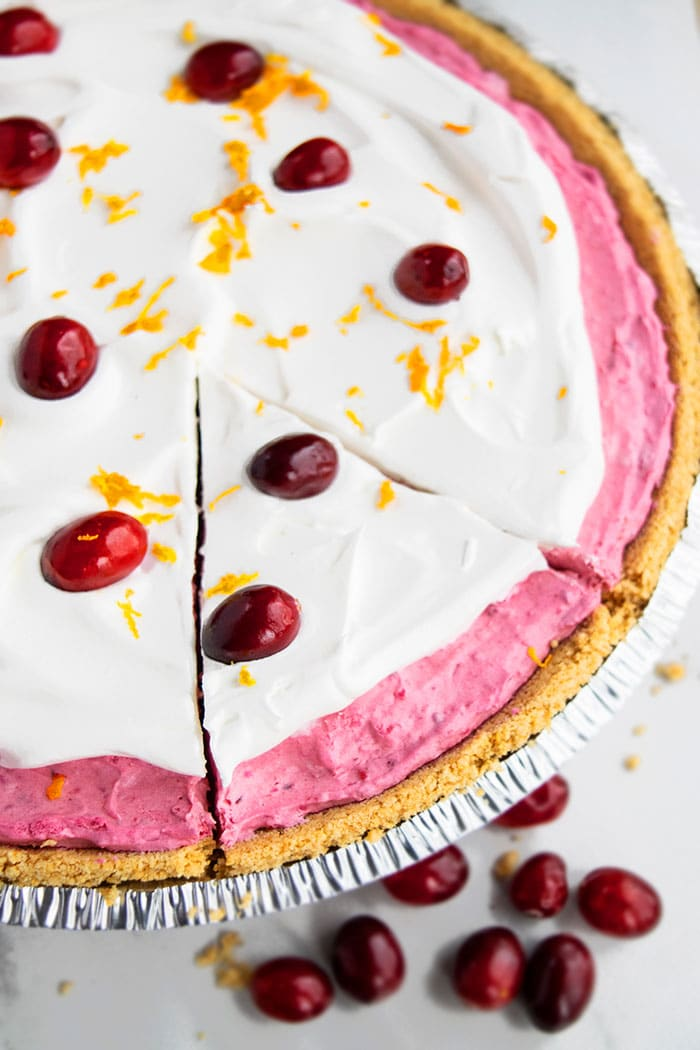 No Bake Cranberry Pie With Graham Cracker Crust on White Background