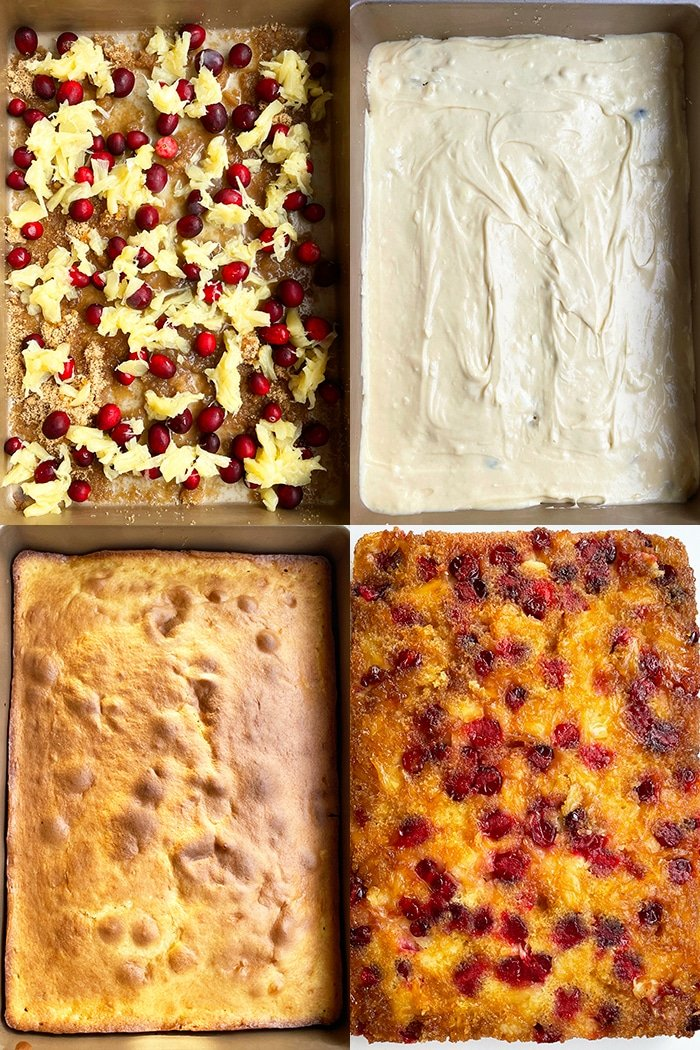 Collage Image on How to Make Cranberry Upside Down Cake- Process Shot