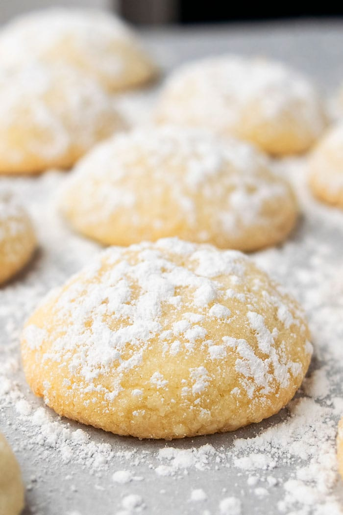 Soft Vanilla Cookies Sprinkled with Powdered Sugar on White Parchment Paper
