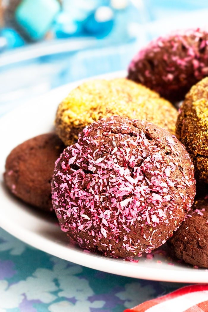 Pink Coconut Chocolate Chip Cookies in White Plate