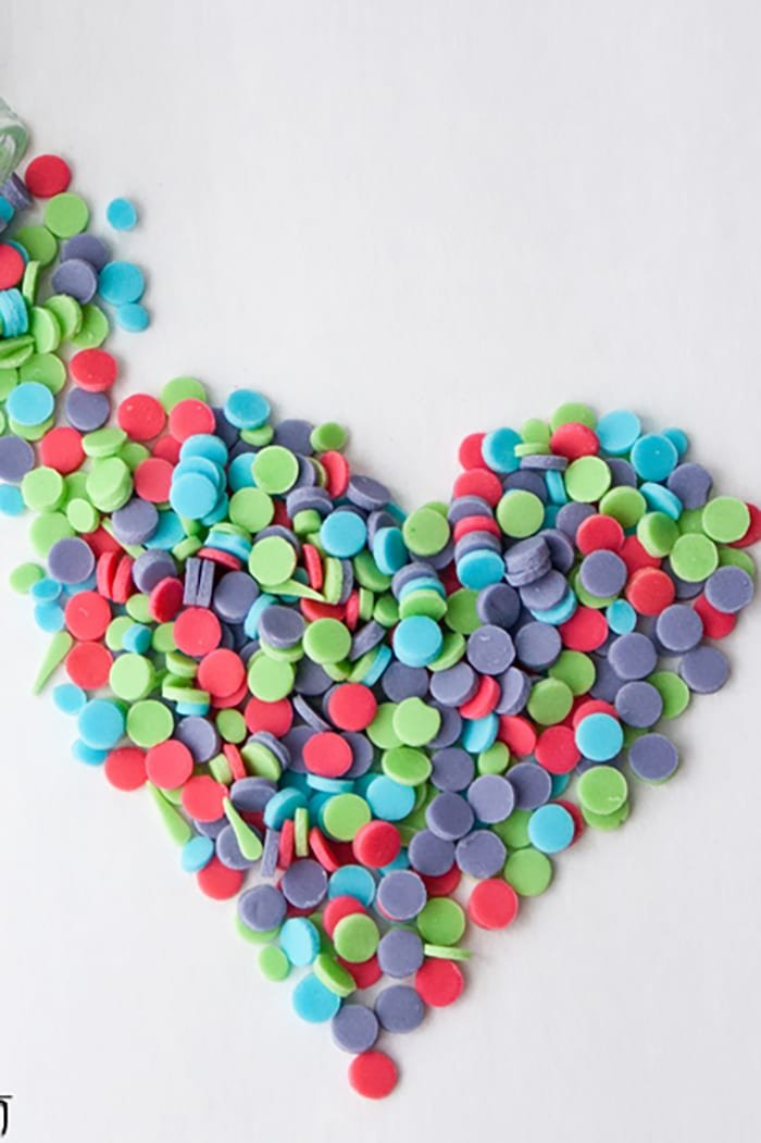 Easy Homemade Confetti Sprinkles Arranged in a Heart Shape