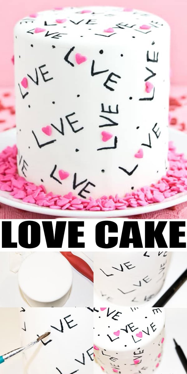Collage Image with Step by Step Process Shots For Homemade Love Cake
