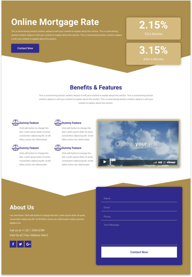 Free Landing Page Elementor Template for Mortgage & Financial Services