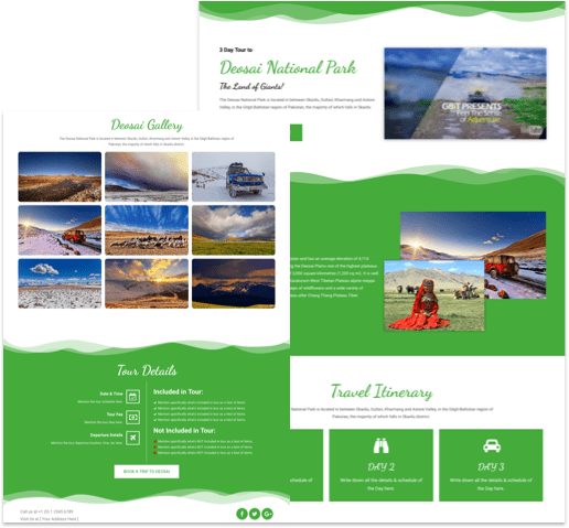 Free Landing Page Elementor Template for Tourism