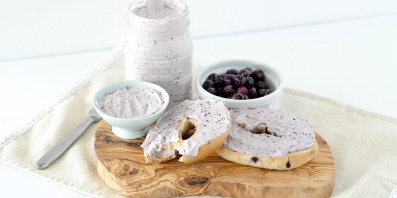 blueberry cream cheese spread, homemade spread, cream cheese, blueberry cream cheese, blueberries, bagel sprea