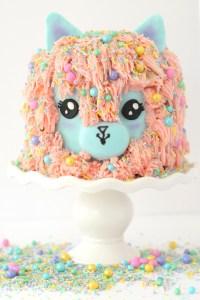 alpaca cake, alpaca face cake, alpaca cake buttercream, sprinkle cake, kid baker, caking girl