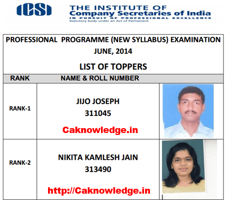 CS Professional Merit List June 2014 new Syllabus