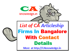 CA Inter Articleship Traning Firms In Bangalore