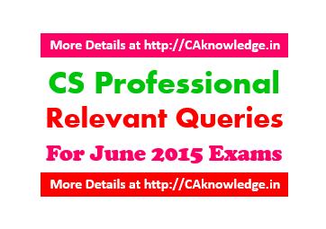 CS Professional Relevant Queries For June 2015 Exams