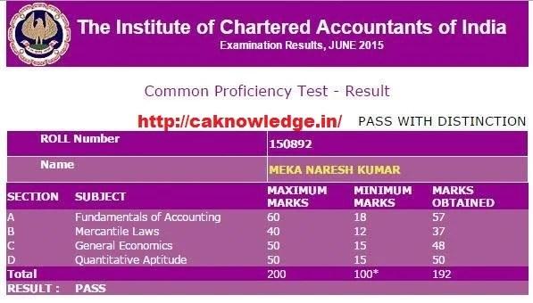 CA CPT Topper Marksheet June 2015