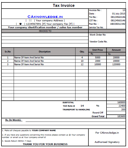 vat tax invoice format in excel