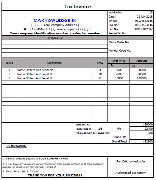 VAT Invoice in Excel Format