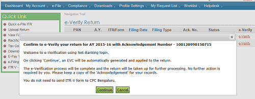 E-Verification of ITR by using net Banking