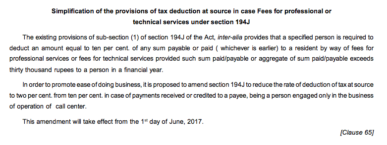 TDS Rates U:s 194J Reduced from 10% TO 2% by Finance Bill 2017