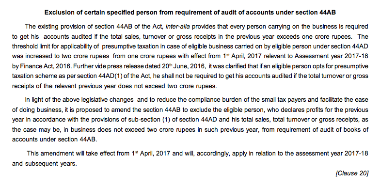 Tax Audit Limit U/s 44AB Increased From 1 Crore to 2 Crore for business